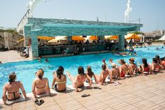 Women doing aquagym in a resort pool Stock Images