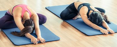 Women doing back stretching yoga in fitness gym royalty free stock photography
