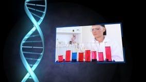 Women doing chemistry stock video