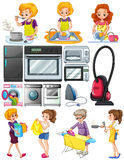 Women doing chores around the house Stock Photos