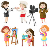 Women doing different kinds of jobs Royalty Free Stock Images