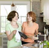 Women doing dishes in kitchen Royalty Free Stock Photos