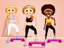 Women doing exercise on aerobic step Stock Photo