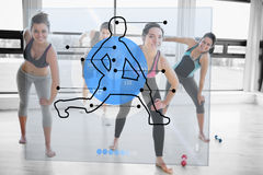 Women doing exercise with futuristic blue interface demonstration. And trainer royalty free illustration