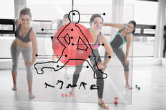 Women doing exercise with futuristic red interface demonstration. And trainer Stock Image