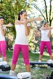 Women doing exercises Stock Photo