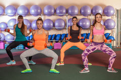 Women doing a leg exercise in aerobics class Stock Photos