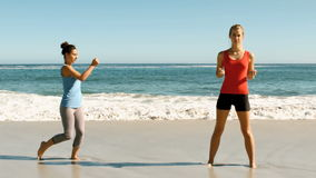 Women doing martial arts on the beach. In slow motion stock video footage