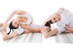 Women doing Revolved Head-to-Knee Pose parivrtta janu shirshasana Stock Photo