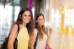 Women doing shopping in the city Royalty Free Stock Image