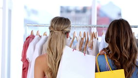 Women doing shopping together. Happy women doing shopping together and smiling at camera stock video