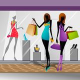 Women doing Shopping Stock Images