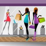 Women doing Shopping. Vector illustration of women doing shopping in mall Stock Images