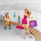 Women doing Shopping. Vector illustration of women doing shopping in mall Royalty Free Stock Photography