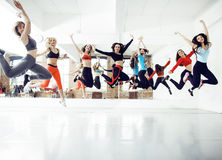 Women doing sport in gym, healthcare lifestyle people concept, modern loft studio Royalty Free Stock Photo