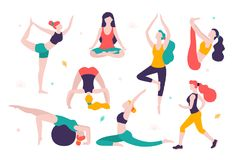 Women doing sports. Different poses of yoga, exercises for healthy lifestyle. Slim girls vector flat illustration. Workout in the gym and park Vector Illustration