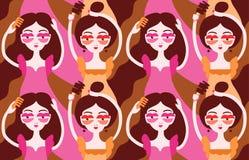 Women doing their hair, brushing hair. Girls wearing surrealistic lip eyeglasses. Seamless pattern. Vector illustration eps 10 royalty free illustration
