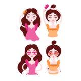 Women doing their hair, brushing hair. Girls wearing surrealistic lip eyeglasses. Vector illustration eps 10 stock illustration