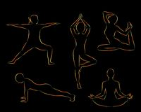 Women doing yoga excercises silhouettes stock illustration