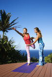 Women Doing Yoga Outdoors Royalty Free Stock Photo