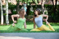 Women doing yoga outdoors in the park. stock photos