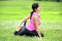 Women doing Yoga in park. Royalty Free Stock Images