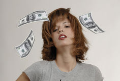 WOMaN WITH DOLLAR Stock Photo