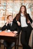 Women dominate over men. Businesswoman are dominates his subordinates Stock Image