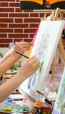 Women drawing on canvases during masterclass in the art studio, hands only royalty free stock photo