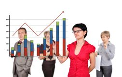 Women drawing graph Royalty Free Stock Photos