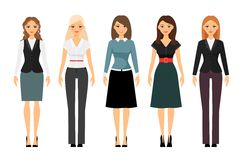 Women dress code illustration. Beautiful women in different style clothes vector icons on white background. Women dress code illustration Stock Images
