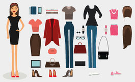 Women dress code set. Woman office worker business   collection  illustration Royalty Free Stock Images