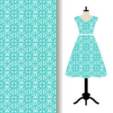 Women dress fabric with blue pattern vector illustration