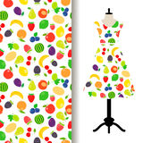 Women dress fabric with fruits pattern Stock Image
