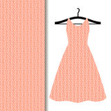 Women dress fabric with geometric pattern. Women dress fabric pattern design on a hanger with geometric pattern of flash tone. Vector illustration Royalty Free Stock Image