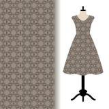 Women dress fabric with grey pattern stock illustration