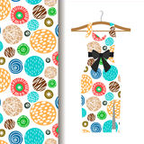 Women dress fabric pattern with dots. Women dress fabric pattern design on a hanger with polka dots. Vector illustration Stock Image