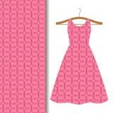 Women dress fabric pink geometric pattern vector illustration