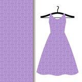Women dress fabric with purple pattern. Women dress fabric pattern design on a hanger with purple geometric design. Vector illustration Stock Illustration