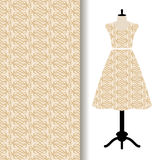 Women dress fabric with yellow pattern. Women dress fabric pattern design on a mannequin with yellow geometric pattern. Vector illustration Stock Images