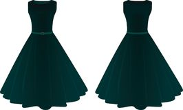 Women dress. front and back view vector illustration
