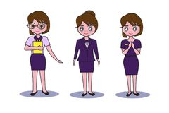 Women dress purple, Reception service and managers worker bank Idea or restaurant business. Women dress purple, Reception service and managers Royalty Free Stock Photos