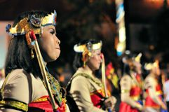 Women dressed as archers, Yogyakarta city festival Royalty Free Stock Image