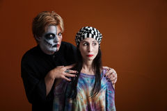 Women dressed for Halloween royalty free stock photo