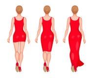Women dressed in mini, midi and maxi Stock Photo