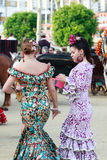 Women dressed in traditional costumes at the Seville's April Fair on April Royalty Free Stock Images