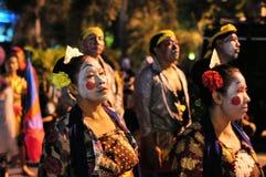 Women dressed traditionally, Yogyakarta city. Yogyakarta, Indonesia - 7 October 2014:  258th city anniversary - Women are traditionally dressed and march in a Stock Photo