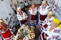 Women dressed up in national ukrainian costumes Stock Photos