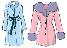 Women dresses. Two woman coats for winter Stock Images
