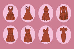 Women dresses icon set Stock Photography